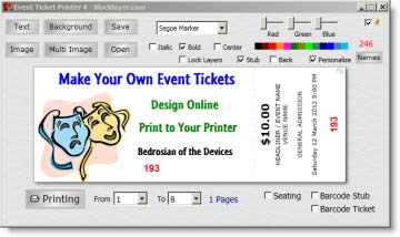 Make Your Own Event Tickets Add Text And Images To Build Your Tickets ...  Print Tickets Free Template