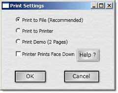 Raffle ticket Print Dialog options